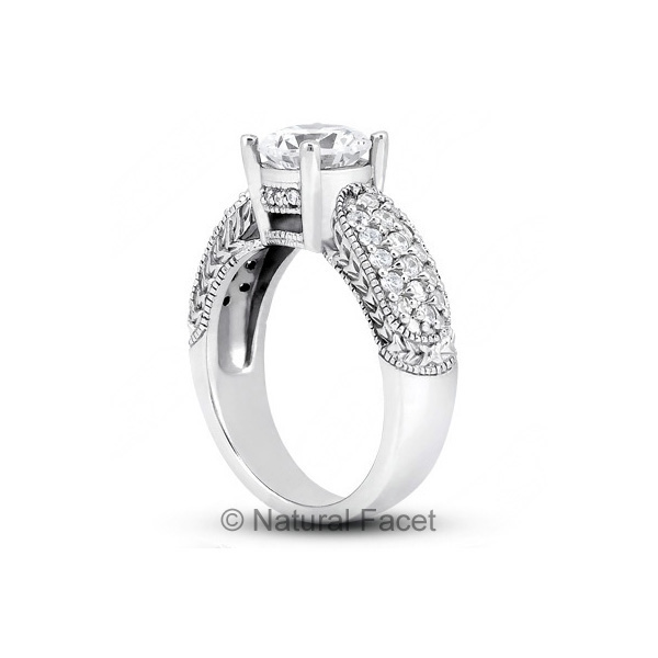 1-69ctw-D-VVS1-Ideal-Round-Diamonds-Platinum-Vintage-Engraved-Accents-Ring-5-1mm thumbnail 3