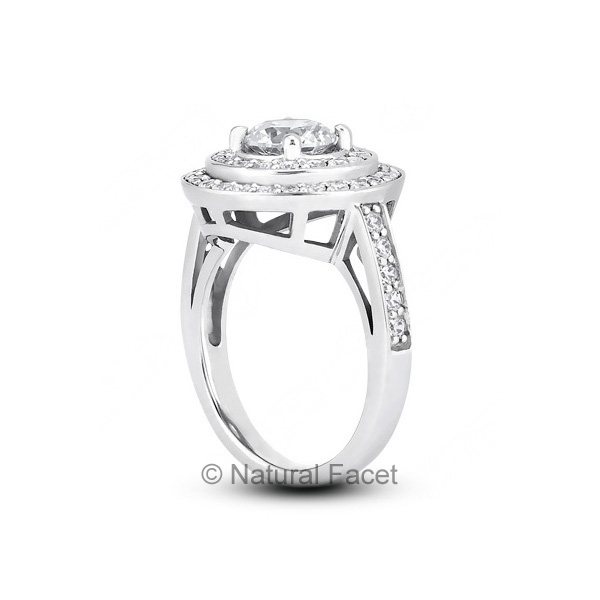 1-46ctw-D-VVS1-Ideal-Cut-Round-Diamonds-Platinum-Two-Pave-Rows-Wedding-Ring-3mm thumbnail 3