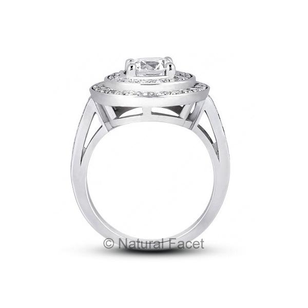 1-46ctw-D-VVS1-Ideal-Cut-Round-Diamonds-Platinum-Two-Pave-Rows-Wedding-Ring-3mm thumbnail 2