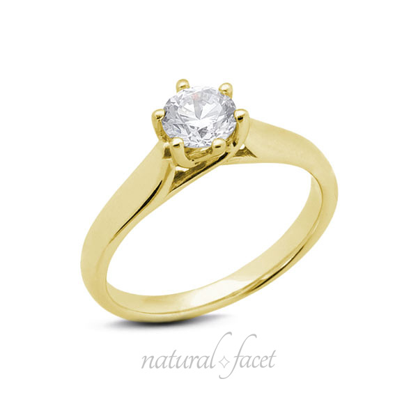 0.83 CT. D VVS1 Ideal Cut Round Diamond Yellow gold Trellis Solitaire Ring 3.2mm