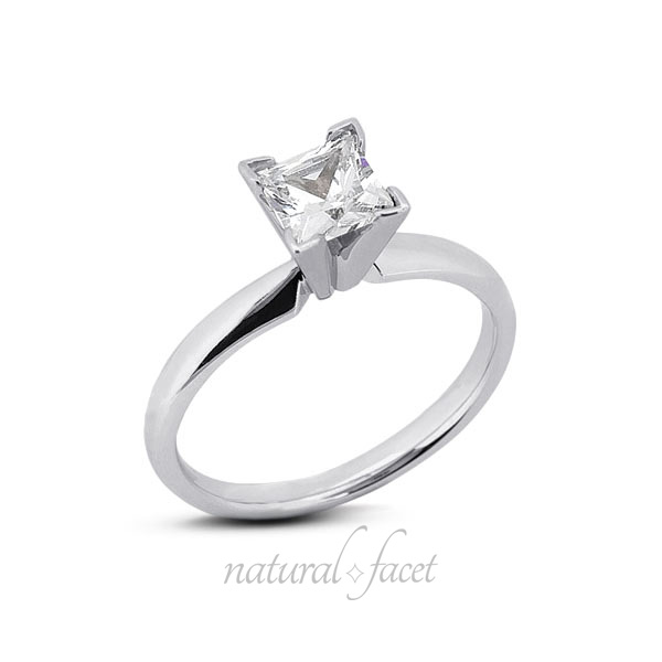 0.43 CT. D VVS1 Ideal Cut Princess Diamond Platinum Classic Solitaire Ring 2.7mm