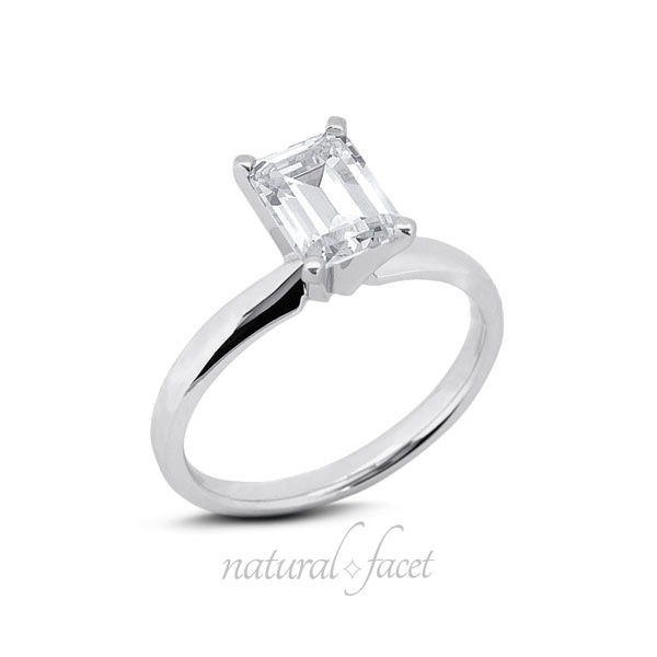 2.16 CT D VVS1 Very Good Emerald Diamond White gold Classic Solitaire Ring 2.6mm