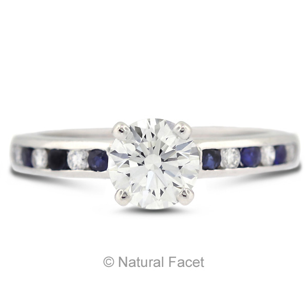 Natural Facet 1.10 Carat Total F-VS2 Ideal AGI Cert Round Natural Diamond 14K White Gold Accents Engagement Ring at Sears.com