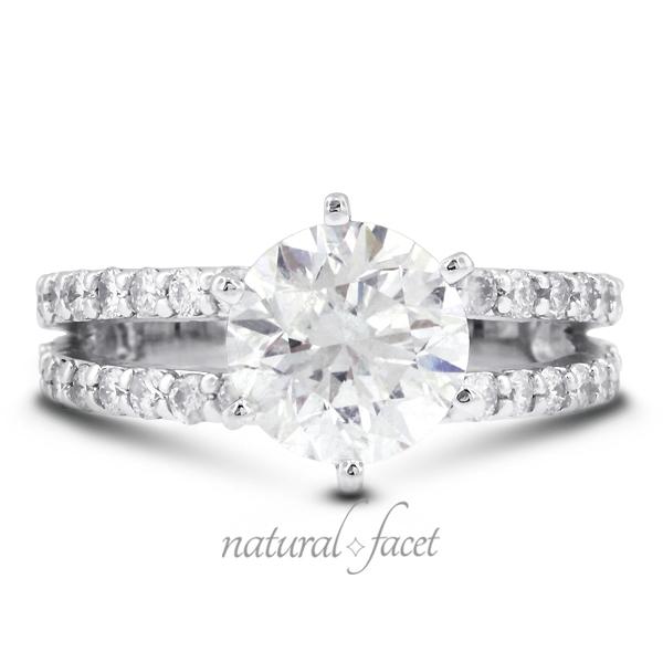 Natural Facet 1.50 Carat Total D-VS1 Excellent AGI Cert Round Natural Diamond 14K White Gold Split Shank Engagement Ring at Sears.com