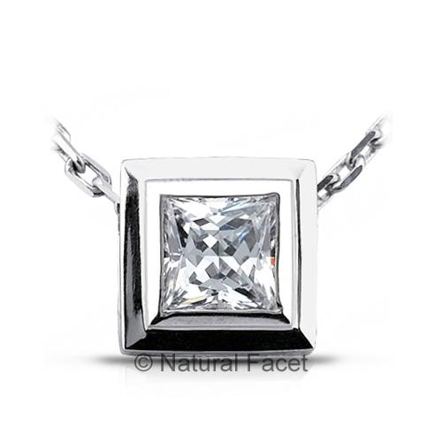 1.23ct D VVS1 Ideal Princess Diamond Platinum Bezel Solid Solitaire Pendant 10mm