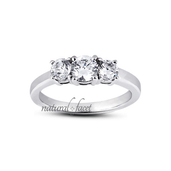 0.92 Carat D VVS1 Ideal Round Diamonds 18k White gold Classic 3-Stone Ring 2.3mm