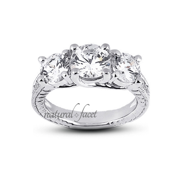 1.82ctw D VVS1 Ideal Round Diamonds 14k gold Engraved Trellis Accents Ring 2.9mm