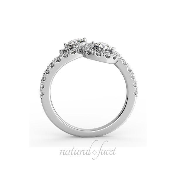 1.11ct D VVS1 VG Round Diamonds 18k White gold Halo Two-Stone Accents Ring 1.8mm