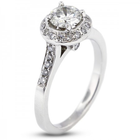 Round Brilliant Micro Pave Set Accents Engagement Ring