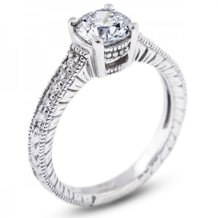 Round Brilliant Micro Pave Set Engagement Ring with Milgrains