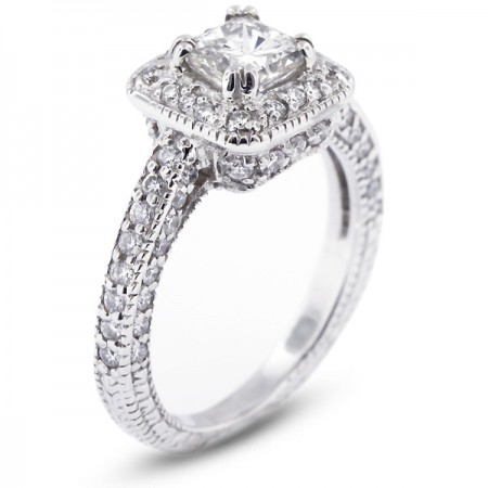 Square Radiant Cut Micro Pave Set Vintage Style Engagement Ring with Halo