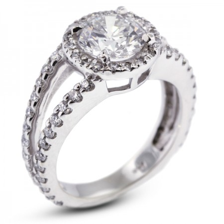 Round Brilliant Micro Pave Set Split Shank Engagement Ring