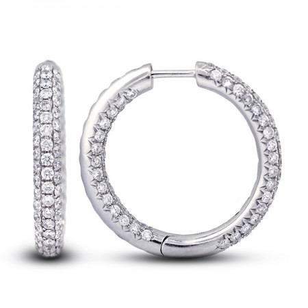 2.6 Carats Hinged Snap Back 1 Inch Micro Pave Hoops