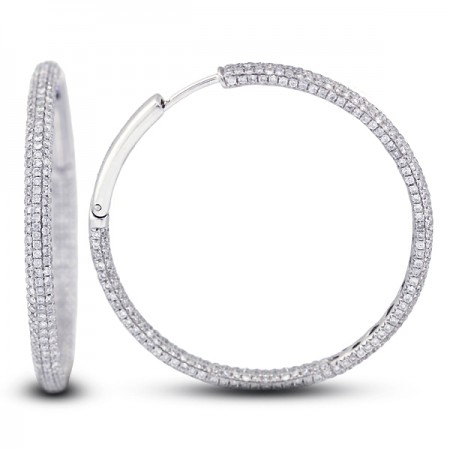 2.66 Carats Hinged Snap Back 1.25 Inch Micro Pave Hoops