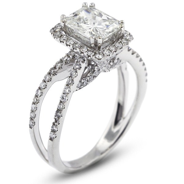 Rectangular Radiant Cut Pave Set Split Shank Engagement Ring Natural Facet