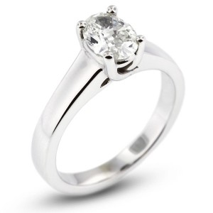 Oval Shape Trellis Solitaire Ring
