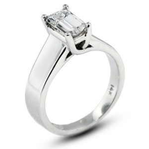 Emerald Cut Trellis Solitaire Ring