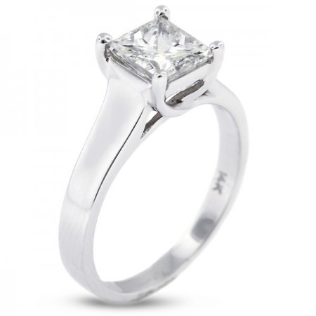 Princess Cut Trellis Solitaire Ring
