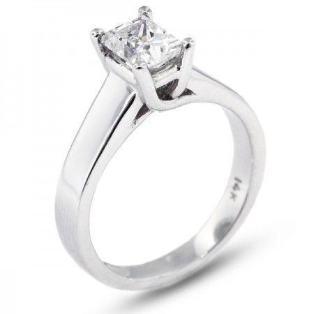 Rectangular Princess Cut Trellis Solitaire Ring