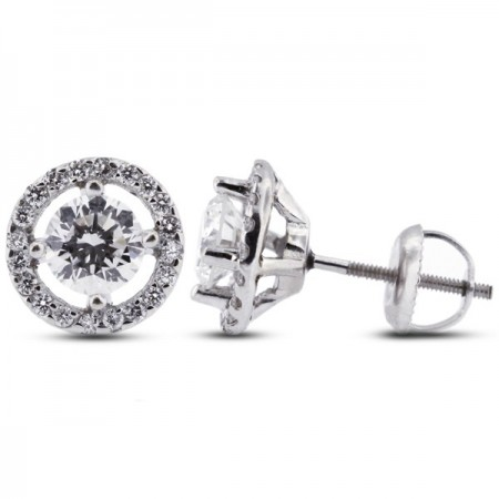 Round Brilliant Sidestones Earrings with Screw Back