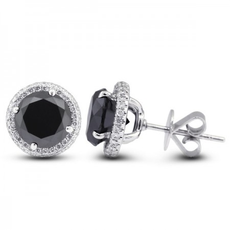 Round Brilliant Sidestones Black Earrings with Push Back