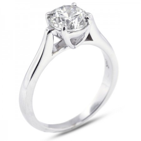Round Brilliant Cathedral Solitaire Ring