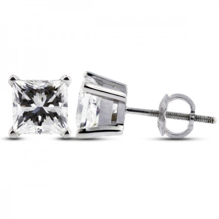 Princess Cut Basket Studs Earrings with Screw Back