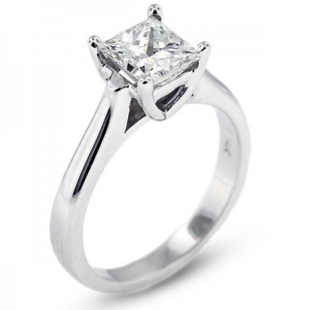 Square Radiant Cathedral Solitaire Ring