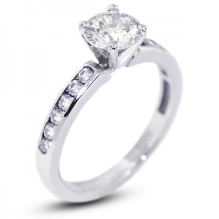 Round Brilliant Channel Set Accents Engagement Ring